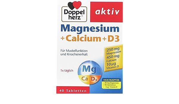 Doppelherz magnesio + calcio + D3, 2-pack (2 x 40 tabletas): Amazon.es: Salud y cuidado personal