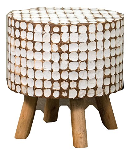 Urban Geometric Distressed White Coconut Chips Stool Ottoman by Crafted Home