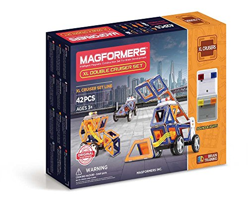 30 Construction Set Piece (Magformers XL Double Cruiser (42 Piece) Set Magnetic    Building      Blocks, Educational  Magnetic    Tiles Kit , Magnetic    Construction  STEM Toy Set)