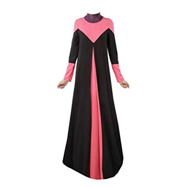 Zhuhaixmy Women Muslim Kaftan Abaya Dress Arab Middle East Islamic Malaysia Long Sleeve Patchwork Color Apparel