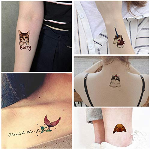 Everjoy Tiny Temporary Tattoos - 24 Pcs, Cute, Wild, Zoo, Animals Waterproof Tattoo Stickers for Adults, Women, Men, kids, Toddler, Boys and Girls]()