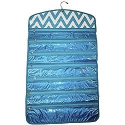 Ever Moda Tri-fold Hanging Jewelry Organizer Bag, Chevron Teal Blue