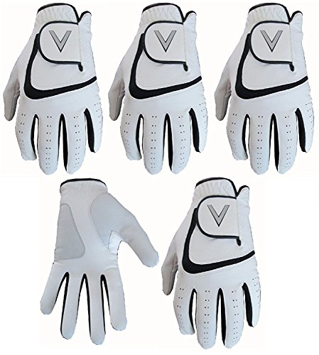 5-White-Mens-All-Weather-Golf-Gloves-Cabretta-Leather-Thumb-Palm-Patch