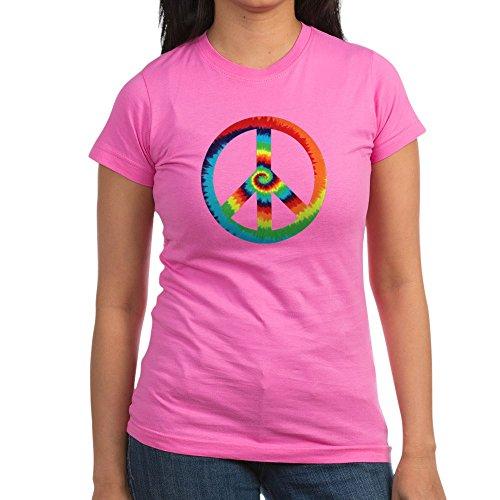 (Royal Lion Junior Jr. Jersey T-Shirt (Dark) Tye Dye Peace Symbol - Raspberry, XL)