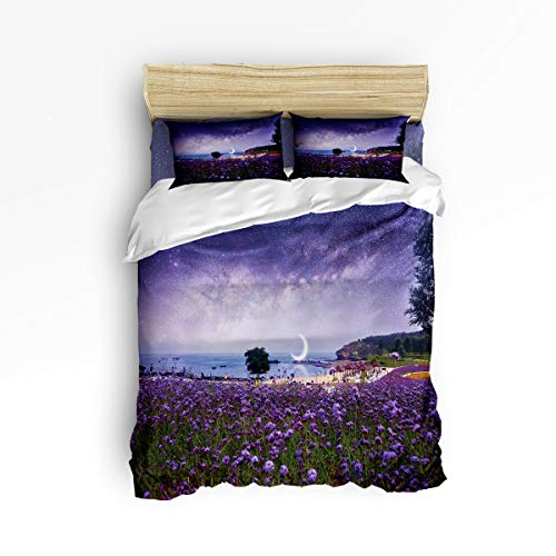 Moonlight Photo (Anzona 4 Piece Bedding Set Full Size, Mountains and Plains Lavender Magical Starry Sky with Moonlights Pictures 4 pcs Duvet Cover Set Bedspread Daybed for Childrens/Kids/Teens/Adults)