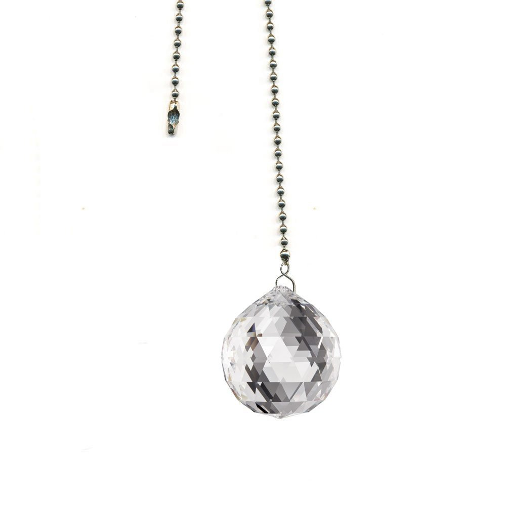 Swarovski 30mm Clear Crystal Multi Faceted Ball Prism Dazzling Crystal Ceiling FAN Pull Chain by CrystalPlace
