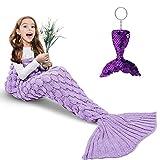 AmyHomie Mermaid Tail Blanket, Mermaid Gift for Girls, Crochet Mermaid Blanket Handmade Sleeping Bag for All Season(Lightpurple, Kids)