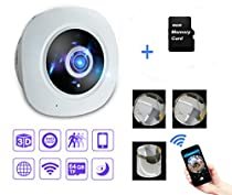 Mbangde 360 Degree Wifi 960P HD Fisheye Panoramic Camera, 3D VR IP Camera Video Surveilance CCTV Cameras Security Motion Detection Alarm, with 8GB TF Card