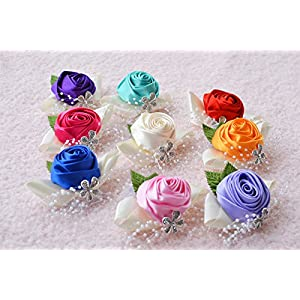 Girls Prom Wrist Corsage Wristband Bridesmaid Wedding Party Hand Flower Decor 112