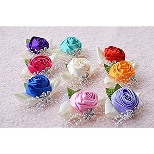 Girls Prom Wrist Corsage Wristband Bridesmaid Wedding Party Hand Flower Decor 95
