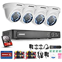 Annke 8-Channel 1080P HD-TVI Security System with 1TB Hard Drive and (4) 2.1MP/1920 TV-Lines Weatherproof Cameras, QR Code Scan Free Remote View