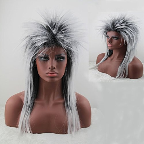 Women's 80's to the Maxx Spiky Rocker Wig Rock Star White Spiked Wig (Halloween Costume Near Me)