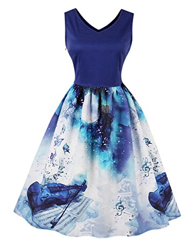 Wellwits Women's V Neck Tank Top Swing Fall A-Line 1950s Vintage Music Note Dress (4-6, Navy)