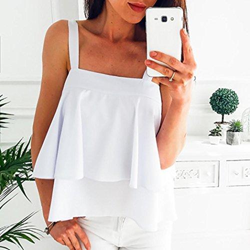 Frauen Baumwolle Ärmelloses Spitzenweste Top T Shirt Bluse Yoga Clubwear