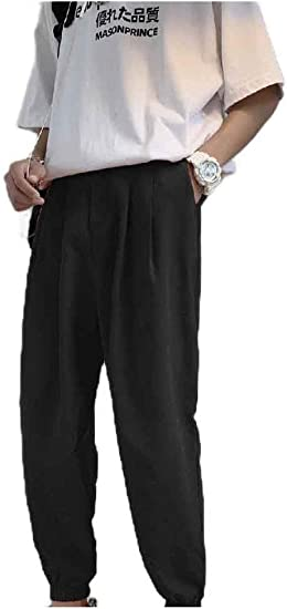 sayahe Mens Pure Colour Tapered Relaxed-Fit Harem Plus Size Running Trousers