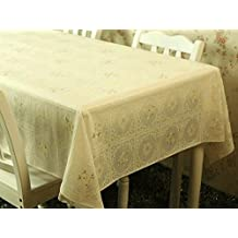 Table Cloth Sound Garden Waterproof And Oil Proof Disposable Plastic Tablecloth Table Mats Soft Mat,Beige Rose Print,137*100