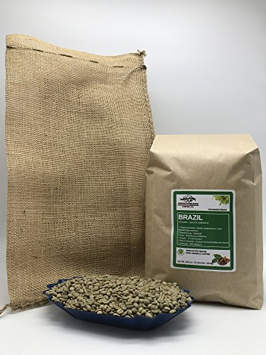 10lb BRAZIL NATURAL (includes a FREE BURLAP BAG) Specialty-Grade, CURRENT-CROP Green Unroasted Coffee Beans – This Natural Process Bean is Extremely Popular with Espresso Aficionados as Base in Blen