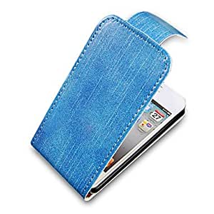 NEW Sky Blue Up-Down Turn Over PU Leather Full Bady Case for iPhone 4/4S