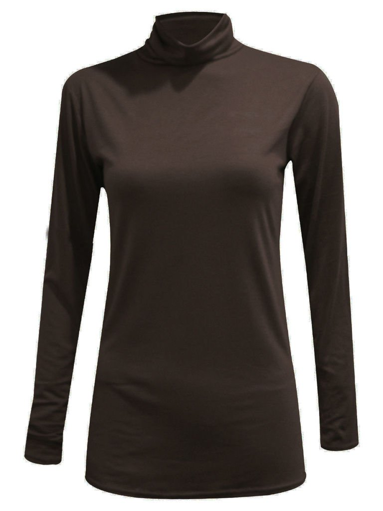 R KON Long Sleeve Polo Neck Strech Turtle Neck Dress TOP
