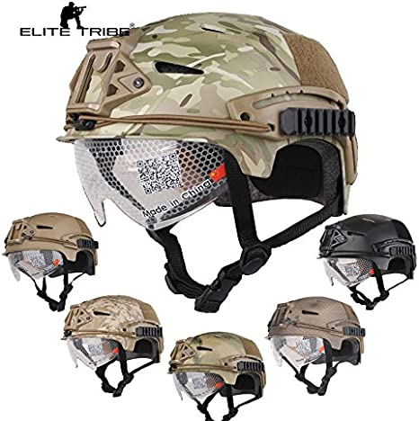 Paintball Equipment Airsoft Caza táctico Casco Combate EXF Bump Casco con Gafas