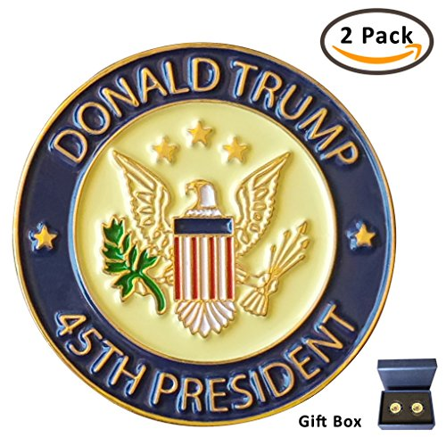 Donald Trump 45th President Lapel Pin Hat Tac - Trump Pin, Gift Box - Pack of 2 Pins