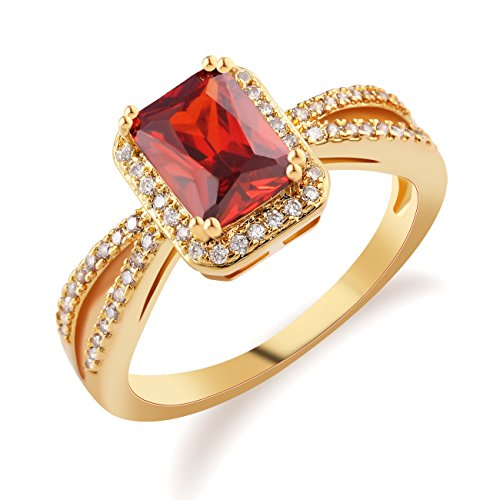 GULICX Square Garnet-Color Red Solitaire Ring CZ Crystal Gold Tone for Women Size 7,8,9,10