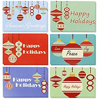Amazon 36 pack merry christmas greeting cards bulk box set 36 pack merry christmas greeting cards bulk box set retro inspired winter holiday xmas greeting cards with festive christmas ornament designs m4hsunfo