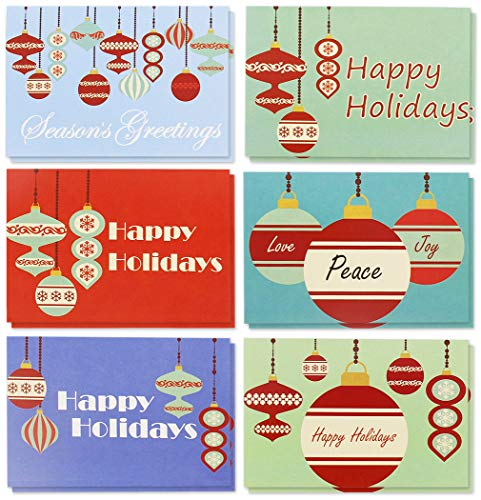 36-Pack Merry Christmas Greeting Cards Bulk Box Set - Retro Inspired Winter Holiday Xmas Greeting Cards with Festive Christmas Ornament Designs, Envelopes Included, 4 x 6 Inches
