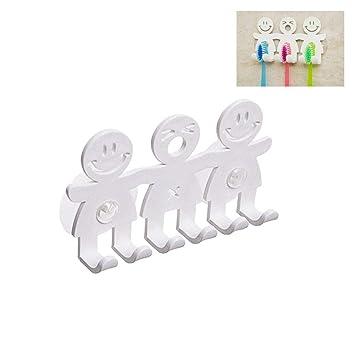 Hihey Organizador para cepillos de Dientes Happy Smiley Soporte para cepillos de Dientes Portaherramientas de succión Soporte para cepillos de Dientes: ...