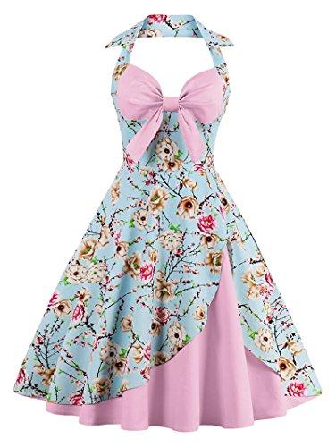 (ANCHOVY Women Vintage 50s Halter Dresses Floral Audrey Hepburn Bowknot Tea Dress C82 (Light Pink 02, 2XL))