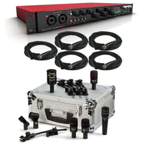 Focusrite Scarlett 18i20 USB Interface with Audix DP5a 5 Piece Drum Microphone Kit & XLR Cables