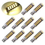 PESIC 10x T10 921 192 Wedge RV Trailer 68-SMD LED Warm White Interior Light Bulbs