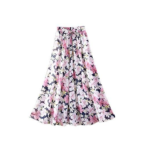 Kaxuyiiy Women's Boho Flower Print 2 Layer Beach Party Maxi Long Pleated Skirt (Black) (Petites Skirt Print Floral)