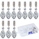 Swpeet 10Pcs Eye Tablecloth Weights with 10Pcs Metal Clip Kit, Crystal Glass Eye Pendant Tablecloth Weights for Picnic Tables Tablecloth Weights Heavy Outdoor
