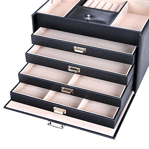SONGMICS Black Jewelry Box Lockable Jewelry Case Faux Leather