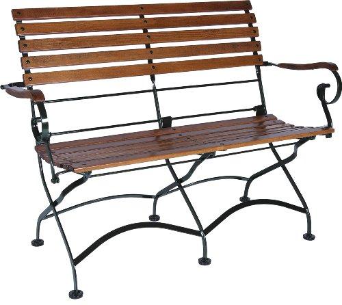 - Mobel Designhaus French Café Bistro 2-Seat Folding Bench with Arms, Jet Black Frame, European Chestnut Wood Slats with Walnut Stain