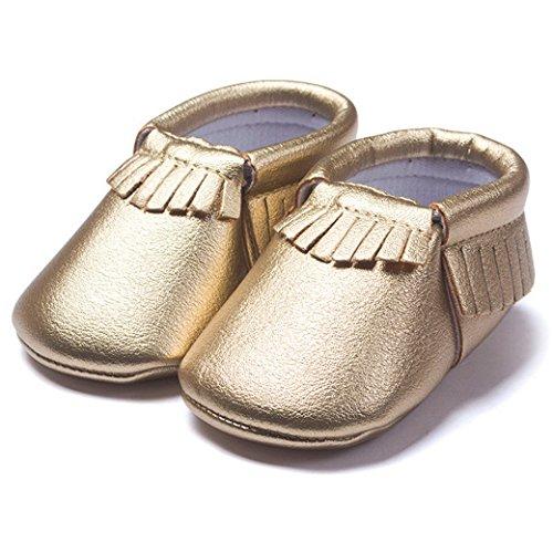 HAPPY CHERRY Suaves Zapatos Primeros Pasos Zapatitos sin Cordones Suela Antideslizante Mocasines para Bebés Niños Niñas 12-18 Meses Color Vino Tinto Oro