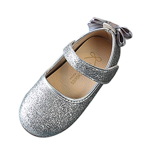 Moonker Baby Shoes for 0-5 Years Old,Infant Baby Girls Soft Sole Prewalker Crib Mary Jane Shoes Princess Light Single Shoes (1-2 Years Old, Silver)