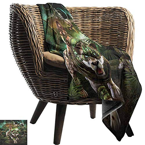 Fantasy World Fleece Throw Blanket,Graphics of Fantasy Scene with Girl and Saber Tooth Tiger Magical Plants Galaxy Fuzzy Reversible Plush Blankets for Couch(60