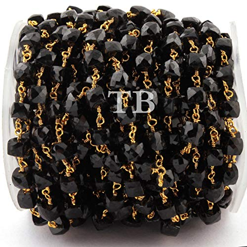 15 Feet Black Onyx Faceted Cube Beaded Chain - Black Onyx Faceted Cubes Wire Wrapped 24 k Gold Plated Rosary Chain 5mm-6mm by LadoNarayani