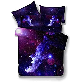 Nattey 3 Pieces Duvet Cover Set Galaxy Bedding Set Twin Size(Rose Pink And Blue) (Twin)