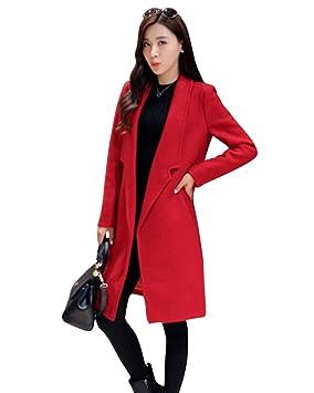 LaoZan Abrigo de mujer Chaqueta larga Invierno chaqueta de abrigo para mujer L rojo: Amazon.es: Deportes y aire libre