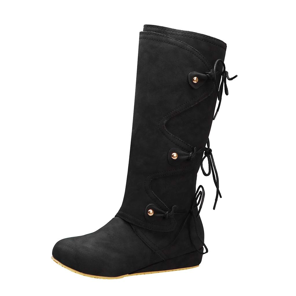 Onefa Women Wedges High Heels Boots Vintage Back Lace-Up Boots Casual Round Toe Long Boots Winter Shoes by Onefa