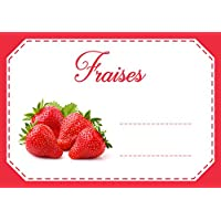 Mon Bio Jardin Lot de 30 étiquettes autocollantes fraises pour confiture, compote, conserves maison