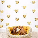20PCS Of Mirror Wall Stickers Cute Mickey Mouse Crystal Mirror Stickers Acrylic 3D Decorative Stickers For Kids Room Nursery Deco (Gold)