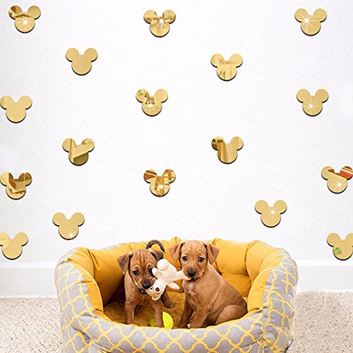 Crystal Stickers Acrylic (20PCS Of Mirror Wall Stickers Cute Mickey Mouse Crystal Mirror Stickers Acrylic 3D Decorative Stickers For Kids Room Nursery Deco (Gold))
