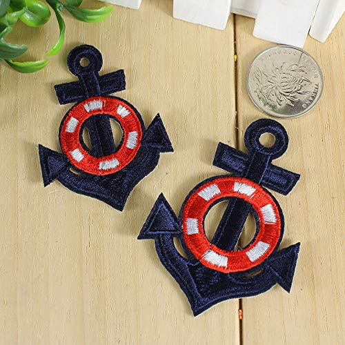 Iron on Fabric Patches - Blue Anchors - Set of 2 - FP79