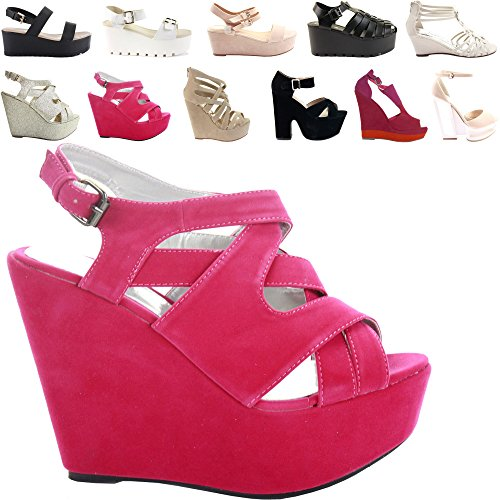 NEW WOMENS LADIES LOW MID HIGH HEEL STRAPPY WEDGES PEEP TOE SUMMER PLATFORM SANDALS SHOES SIZE Style 4 - Pink