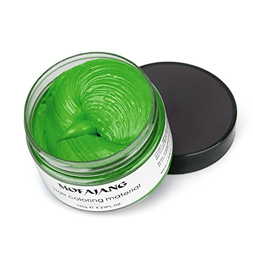 Green Instant Hair Color Wax, Qiyuxow Temporary Hair Dye Creme Coloring Material, Quick Dry Easy Wash for Daily use Festivals Parties Stag & Hen Events Clubbing Raves Halloween & Fancy dress -
