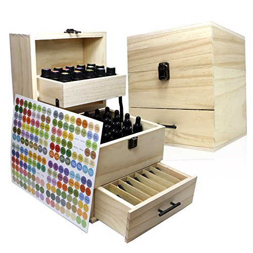 SXC Essential Oil Wooden Box Multi-Tray Organizer, 3 Tiers Storage Case Protects 45 5-15 mL Essential Oil Bottles and 14 10 mL Roller Bottles for Travel and Presentations by SXC (Image #6)